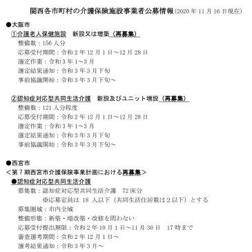 2020.11.16関西各市町村の介護保険施設事業者公募情報