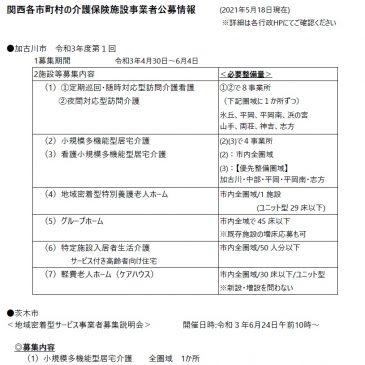 2021.5.18 関西各市町村の介護保険施設事業者公募情報