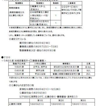 2021.6.11 関西各市町村の介護保険施設事業者公募情報
