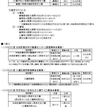 2021.9.1 関西各市町村の介護保険施設事業者公募情報